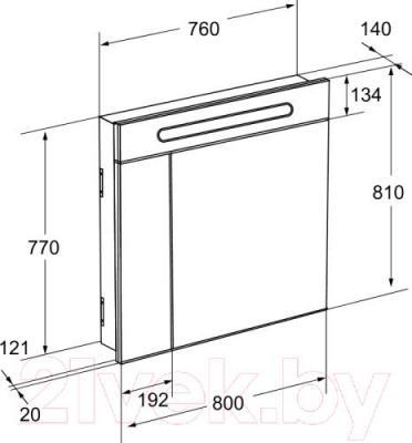 Шкаф с зеркалом для ванной Roca Victoria Nord ZRU9000033 - схема