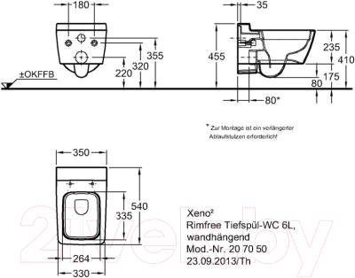 Унитаз подвесной Keramag Xeno 2 Rimfree 207050000