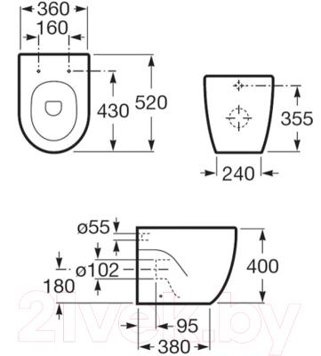 Унитаз приставной Roca N-Meridian A347247000
