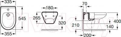 Биде подвесное Roca Laura A35530500S - схематическое изображение