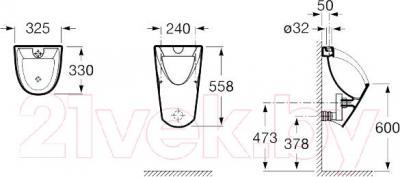Писсуар Roca Сhic А35945L000 - схема