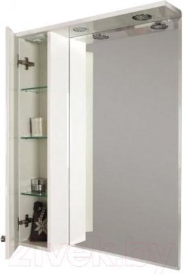 Шкаф с зеркалом для ванной Акватон Лиана 60 (1A162702LL01L) - общий вид с открытой дверцей