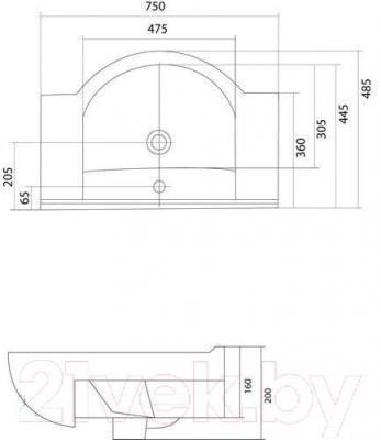 Умывальник Акватон Аквалайн 75 (1WH110237) - габаритные размеры