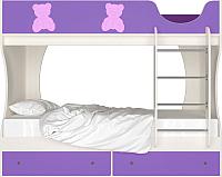 Двухъярусная кровать Артём-Мебель СН 108.01 (сосна/розовый/фиолетовый) -