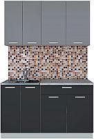 Готовая кухня Интерлиния Мила Лайт 1.4-60 (серебро/антрацит) -