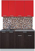 Готовая кухня Интерлиния Мила Лайт 1.4-60 (красный/дуб венге) -