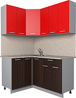 Готовая кухня Интерлиния Мила Лайт 1.2x1.5 (красный/дуб венге) -