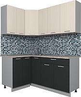 Готовая кухня Интерлиния Мила Лайт 1.2x1.7 (вудлайн кремовый/антрацит) -
