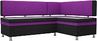 Уголок кухонный мягкий Mebelico Стайл правый / 100563 (микровельвет, черный/фиолетовый) -