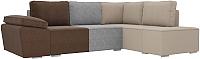 Комплект мягкой мебели Лига Диванов Хавьер правый / 101263 (рогожка коричневый/серый/бежевый) -