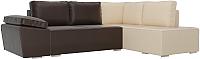 Комплект мягкой мебели Лига Диванов Хавьер правый / 101270 (экокожа коричневый/бежевый) -