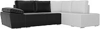 Комплект мягкой мебели Лига Диванов Хавьер правый / 101272 (экокожа черный/белый) -