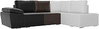 Комплект мягкой мебели Лига Диванов Хавьер правый / 101274 (экокожа черный/коричневый/белый) -