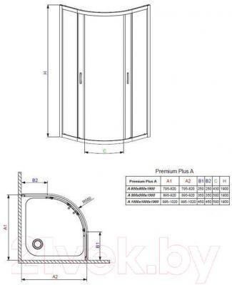 Душевое ограждение Radaway Premium Plus A800 / 30413-01-01N