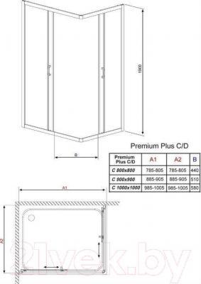 Душевое ограждение Radaway Premium Plus C1000 / 30443-01-01N