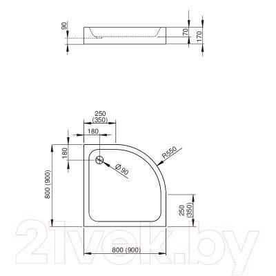 Душевой поддон Radaway Siros A800 Compаct / SBA8817-2