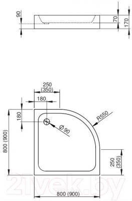 Душевой поддон Radaway Siros A900 Compact / SBA9917-2