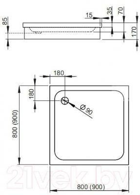 Душевой поддон Radaway Siros C900 Compact / SBC9917-2