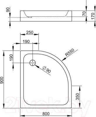 Душевой поддон Radaway Siros Compact E900x800 L / SBE8917-L