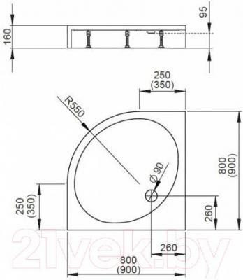 Душевой поддон Radaway Patmos A900 / 4S99155-03