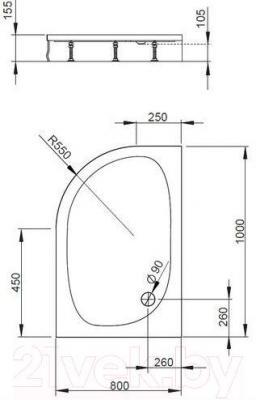 Душевой поддон Radaway Patmos E1000x800 L / 4P81155-03L