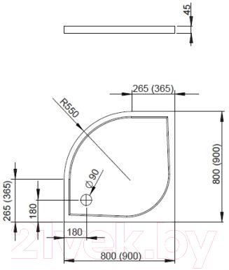 Душевой поддон Radaway Delos A800 / SDA0808-01