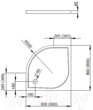 Душевой поддон Radaway Delos A900 / SDA0909-01