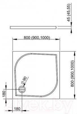 Душевой поддон Radaway Delos C800 / SDC0808-01
