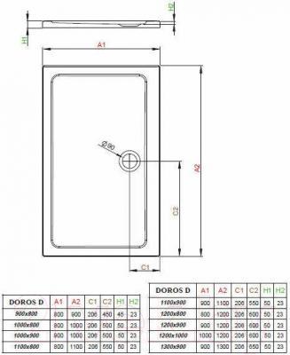 Душевой поддон Radaway Doros D900x1300 / SDRD1390-01