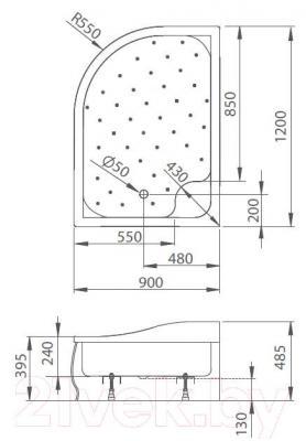 Душевой поддон Radaway Korfu Е1000x800 R / 4E81400-03R