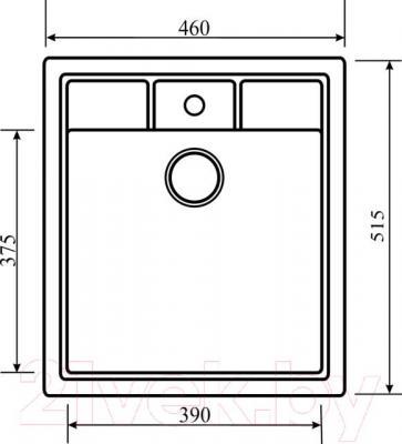 Мойка кухонная Aquasanita SQN100W (силика) - схема