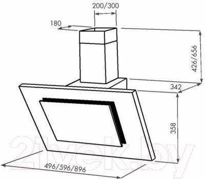 Вытяжка декоративная Zorg Technology Вертикал А (Titan) 1000  (90, нержавейка/черное стекло) - габаритные размеры