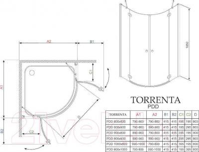 Душевое ограждение Radaway Torrenta PDD 90 / 31600-01-01N