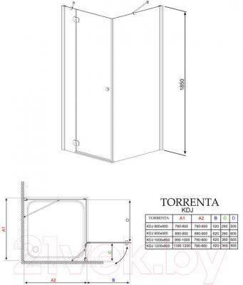 Душевое ограждение Radaway Torrenta KDJ 120 L / 32232-01-01NL