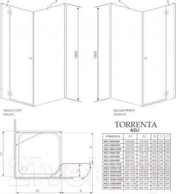 Душевое ограждение Radaway Torrenta KDJ 120 R / 32232-01-01NR