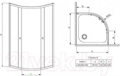 Душевой уголок Radaway Classic A800 / 30010-01-01
