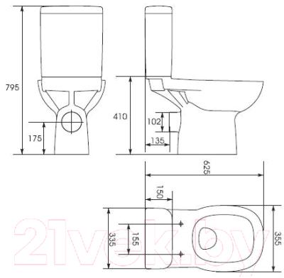 Унитаз напольный Cersanit Facile 63 FAC011