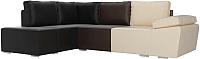 Комплект мягкой мебели Лига Диванов Хавьер левый / 101267 (экокожа бежевый/коричневый/черный) -