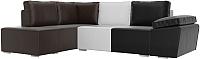 Комплект мягкой мебели Лига Диванов Хавьер левый / 101273 (экокожа черный/белый/коричневый) -