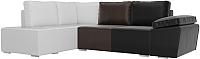 Комплект мягкой мебели Лига Диванов Хавьер левый / 101274 (экокожа черный/коричневый/белый) -