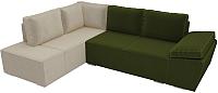 Комплект мягкой мебели Лига Диванов Хавьер левый / 101254 (микровельвет зеленый/бежевый) -