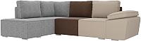 Комплект мягкой мебели Лига Диванов Хавьер левый / 101261 (рогожка бежевый/коричневый/серый) -