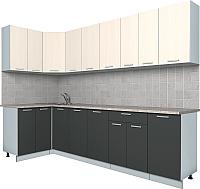 Готовая кухня Интерлиния Мила Лайт 1.2x2.8 (вудлайн кремовый/антрацит) -