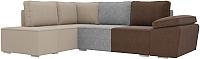Комплект мягкой мебели Лига Диванов Хавьер левый / 101263 (рогожка коричневый/серый/бежевый) -