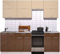 Готовая кухня Интерлиния Мила Gloss 50-23 (ваниль/шоколад глянец) -
