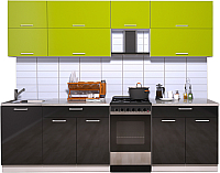 Готовая кухня Интерлиния Мила Gloss 50-26 (яблоко/черный) -