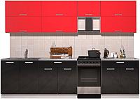 Готовая кухня Интерлиния Мила Gloss 50-29 (красный/черный глянец) -
