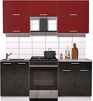Готовая кухня Интерлиния Мила Gloss 60-19 (бордовый/черный глянец) -