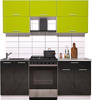 Готовая кухня Интерлиния Мила Gloss 60-19 (яблоко/черный глянец) -