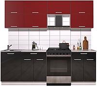 Готовая кухня Интерлиния Мила Gloss 60-23 (бордовый/черный глянец) -
